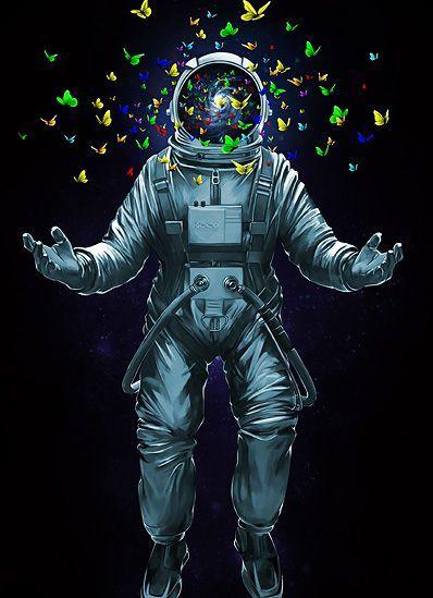 Lsd Wallpaper Iphone 6 Astronaut Space Art Buterfly Astronaut In 2019