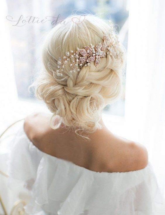 Wedding Updo Hairstyle with Rose Gold Leaf Hair Vine Wedding Headpiece / http://www.deerpearlflowers.com/wedding-hairstyles-and-bridal-wedding-accessories/2/