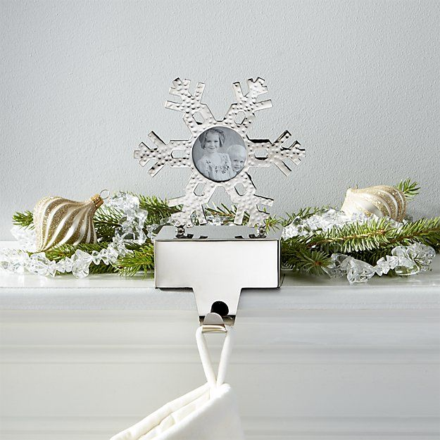 Hammered Snowflake Picture Frame Stocking Hook | Crate and Barrel
