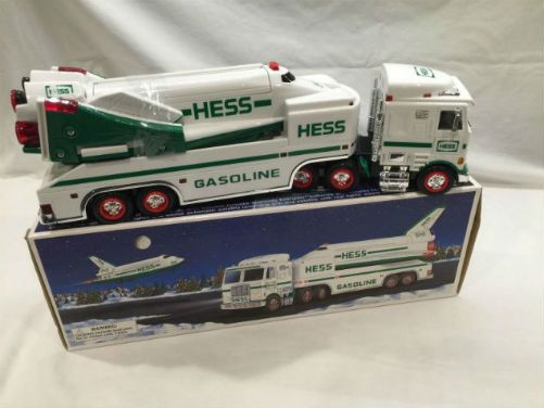 Vintage 1999 Hess Toy Truck and Space Shuttle with Satellite. We have seen the journey with tankers, ships, banks, motorcycles, dune buggies and now a space ship? Hess rolled a something for the 21st century in grand style, the 1999 Hess Toy Truck and Space Shuttle with Satellite! This toy came with six batteries to unleash a variety of lights and sounds that roar, beep, and flash in various combinations as you prepare for space flight!