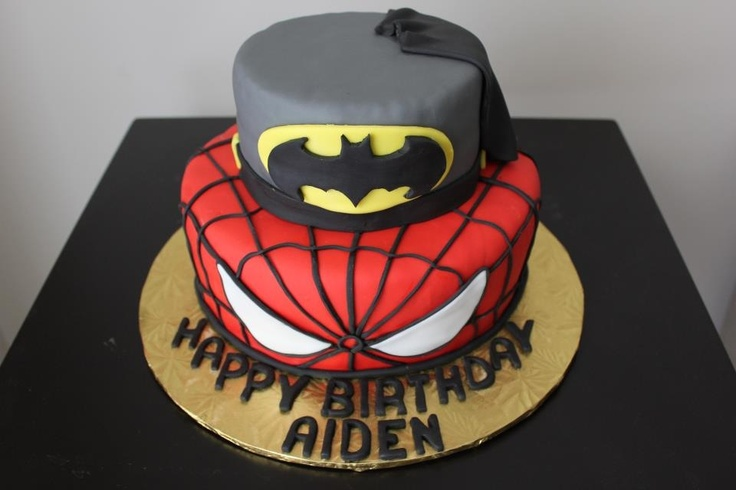 Batman/ Spider-Man cake. Perfect for any boy big or small!