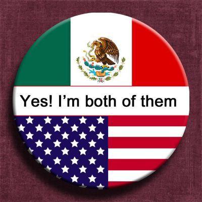 """2.25"""" button pin,Mexico flag,usa flag,citizenship badge pin,citizenship ceremony,usa citizenship,dual citizenship,dual citizenship pin"""