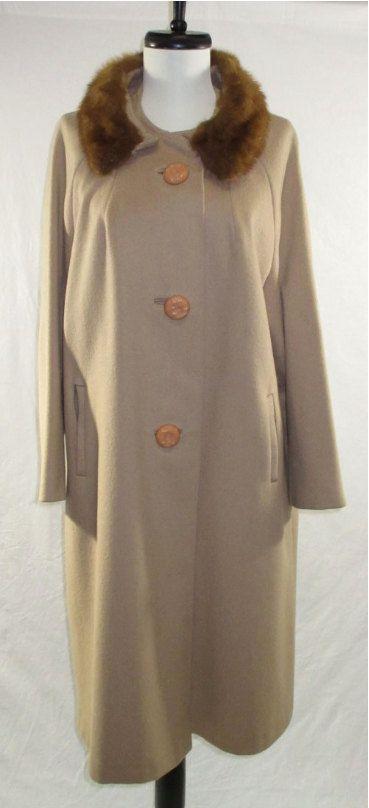 Classic Mid Century Women's Winter Coat  Tan by TuckedAwayAntiques