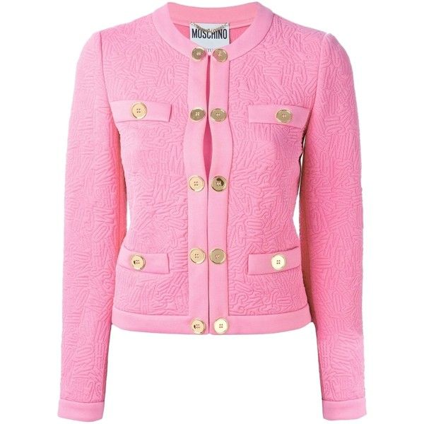 Pre-owned Moschino Logo Jacket Pink Blazer ($995) ❤ liked on Polyvore featuring outerwear, jackets, blazers, pink, logo jackets, pink jacket, pink blazer, long sleeve blazer and pink blazer jacket