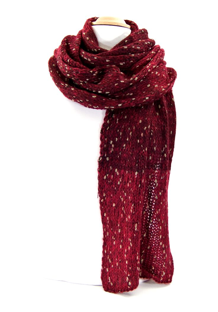 Echarpe rouge chiné maille tricot  #grosseécharpe http://www.mesecharpes.com/echarpe/snood-et-echarpe-fantaisie/echarpe-rouge-chine-maille-tricot.html