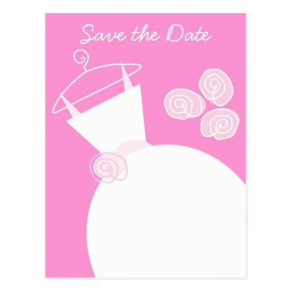 #savethedate #postcards - #Wedding Gown Pink Save the Date postcard