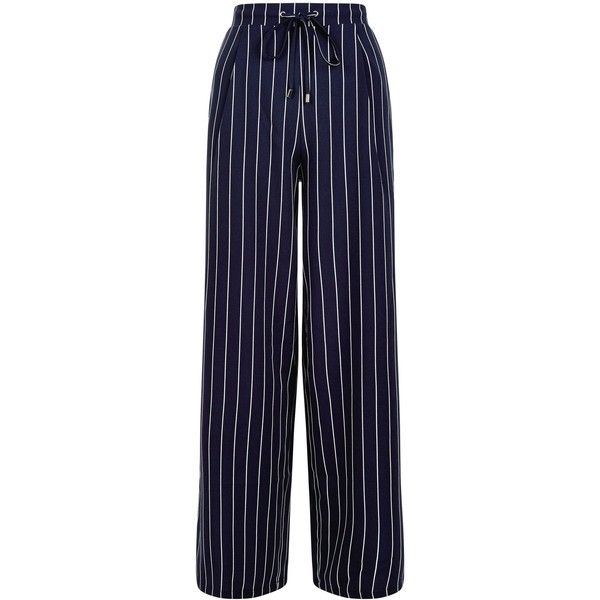 New Look Navy Stripe Wide Leg Trousers ($33) ❤ liked on Polyvore featuring pants, blue pattern, striped pants, print pants, wide leg trousers, stripe pants and navy blue pants