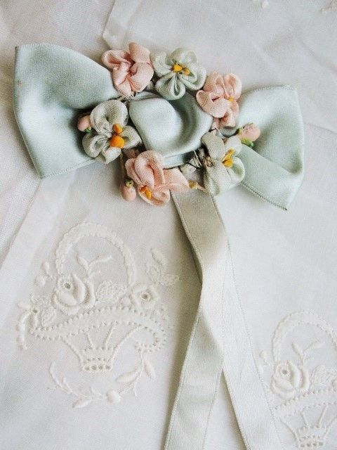 ANTIQUE French Flapper Vintage Handmade Silk RIBBONWORK Rosettes Ribbon Flowers Roses Tiny Flowers Downton Abbey Era Bridal Trim Bouquet
