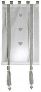 Rideau enrouleur gris perle en voile coton. 2 dimensions au choix.