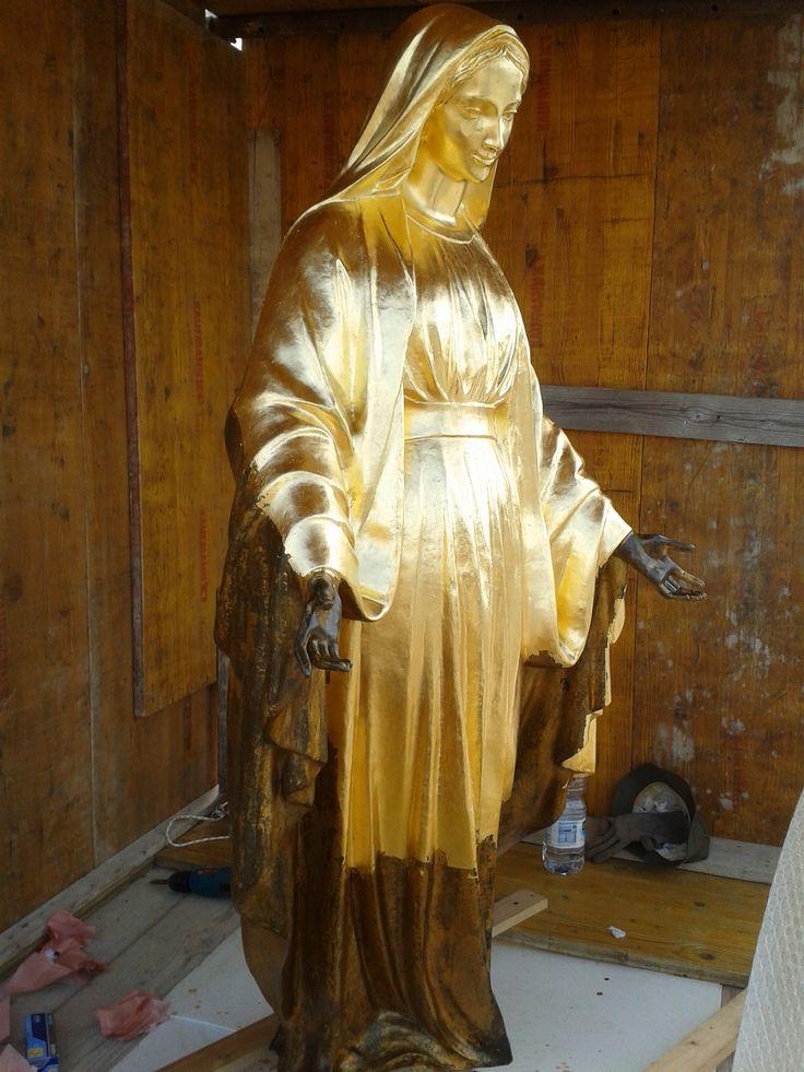 Gold leaf gilding on bronze. Work in progress