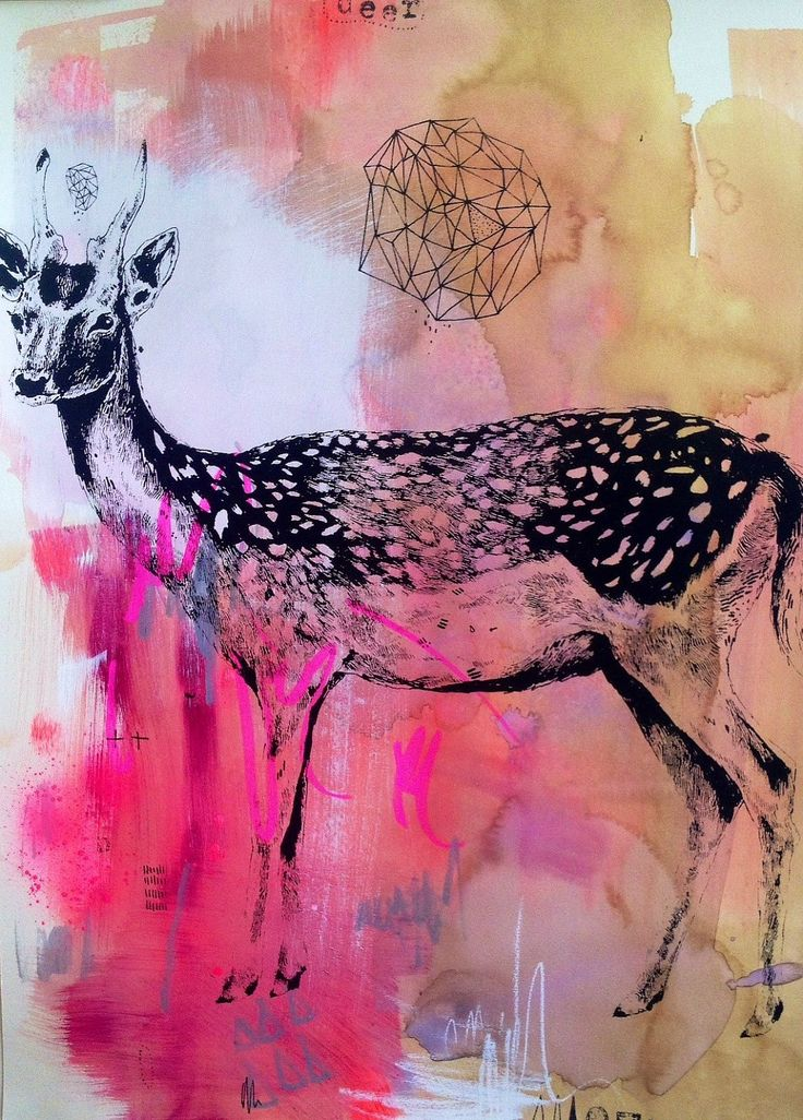 Jasmin Dwyer | Deer Screen Print Mixed Media | http://jasmindwyer.blogspot.co.uk/
