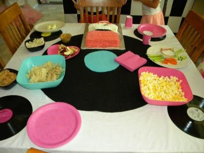 """""""Record Album"""" as a table decoration or place mats....to create sock hop party theme"""