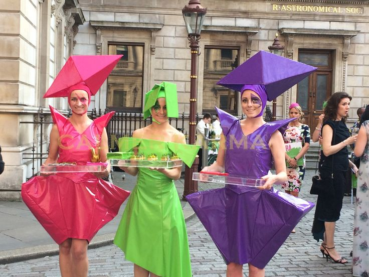 The Fashionistas - canape hostesses with fashion attitude - perfect for art parties, space themes, avant-garde themed events - and yes that's PVC Tel:  0203 602 9540