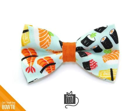 """Sushi Cat Bow Tie - """"Sushi Date"""" - Fun Cat Collar Bow Tie/Kitten Bow Tie/Small Dog Bow Tie - Removable (One Size)"""