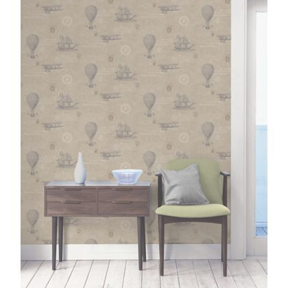 Second bedroom: Homebase Fine Decor Vintage Travel Wallpaper - Taupe