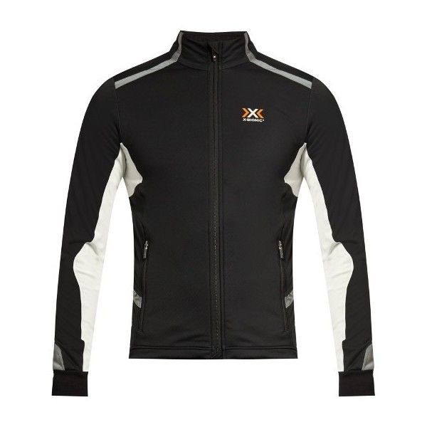 X-Bionic SphereWind® performance jacket ($237) ❤ liked on Polyvore featuring men's fashion, men's clothing, men's activewear, men's activewear jackets and black