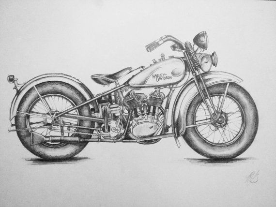 Harley Davidson Drawing by MissMollyLouises on Etsy, $75.00