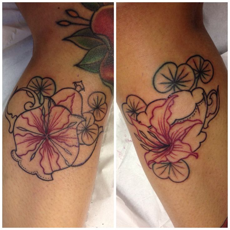 Linework of teapot and teacup tattoos with bauhinia for Hong kong tattoo
