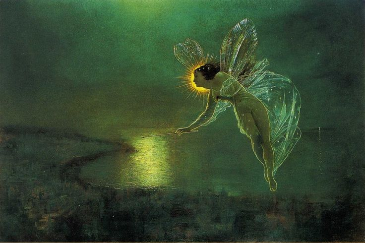 'Spirit of the Night' by John Atkinson Grimshaw, 1879Fairies Spirit, Grimshaw Spirit, Green Fairies, Grimshaw 18361893, Fairies Land, Painting Spirit, Art Magazines, John Atkinson Grimshaw, Art Night