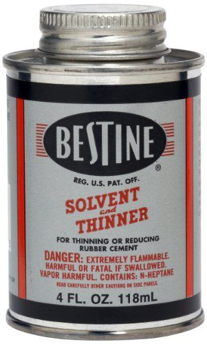 bestine solvent and thinner for thinning and reducing rubber cement cleans inks and spray adhesives use to remove decals and labels safe for all types of