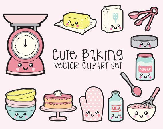 Premium Vector Clipart Kawaii Baking by LookLookPrettyPaper