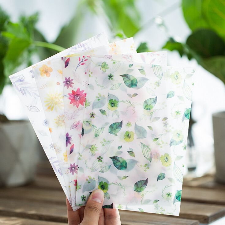 8 pcs/pack Four Seasons Flowers Translucent Envelope Message Card Letter Stationary Storage Paper Gift