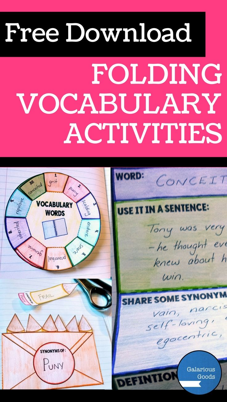 Free Download -  3 Ways to engage students with folding vocabulary lessons. Interactive resource blog post with free downloadable resource