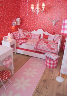 red and pink girls room