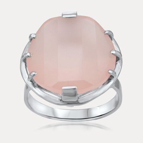 925 Silver Ring with Pink Agate