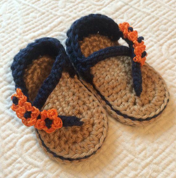 Crochet Baby Sandals - UVA Wahoos, Florida Gators, Chicago Bears, Denver Broncos