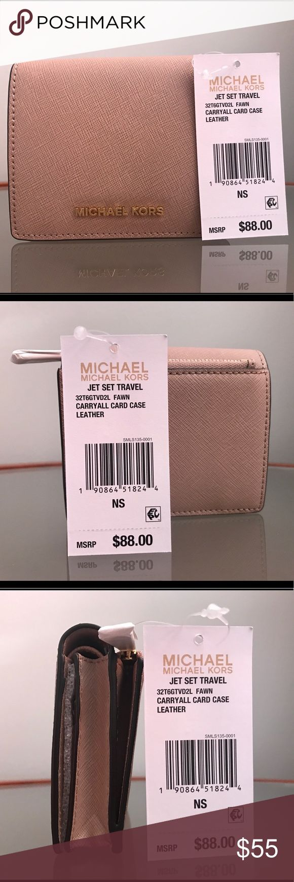 """$88 NEW MICHAEL KORS JET SET TRAVEL  CARD CASE Measurements: 4-1/4""""W x 3-3/4""""H x 1-1/4""""D Color: Fawn with Gold Tone Hardware Interior features: lining, 7 card slots, 1 ID window, 1 gusseted pocket and 1 bill fold Snap closure Exterior features gold-tone hardware, logo plaque and 1 back zip pocket Saffiano leather; lining: polyester Retail price: $88.00 before tax 100% Brand New(Authentic) Michael Kors Bags Wallets"""