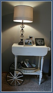 Painted tea cart night stand - old meets new