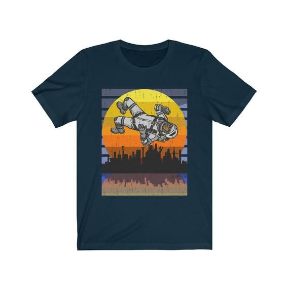 Cool Graphic Skyline Astronaut in Space Unisex T-Shirt Astroworld Space Force Funny Tee