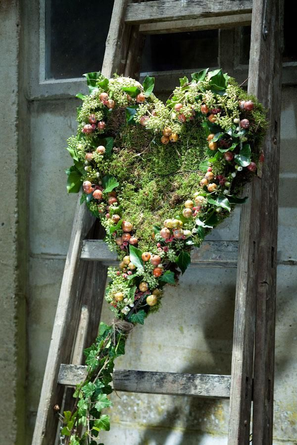 Old wood ladder to hang a wreath from
