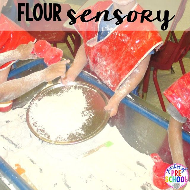 Flour in the sensor table during a pizza theme. Add pizza pans, measuring cups, and spatulas.