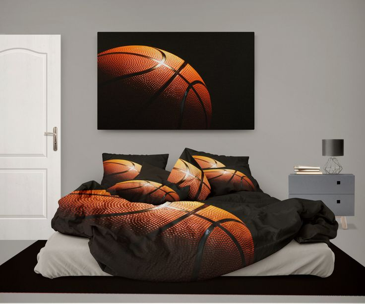 Basketball on Black Duvet Cover from our Eco friendly Sports Bedding Collection by KidsBeddingCompany on Etsy