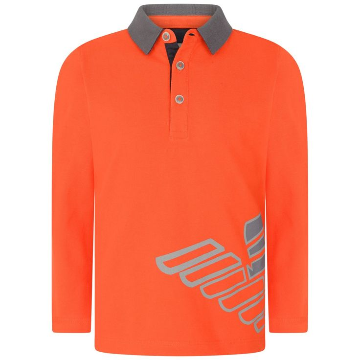 Armani boys orange polo shirt with a ribbed grey collar, three embossed button placket and Armani logo print to the front, side splits and dipped hemline.