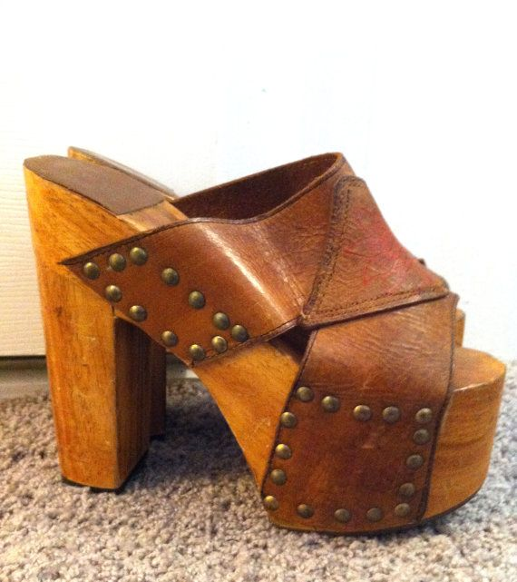 1970s Real Wood and Leather Platform Clogs by LittleCloudVintage