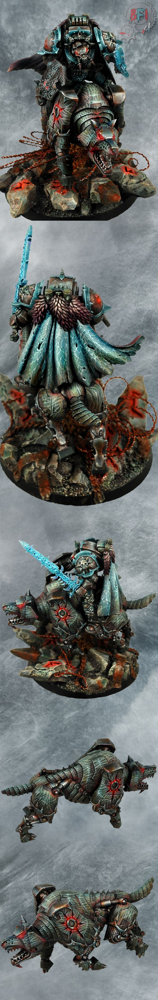 Warhammer 40k, Chaos Space Marines, Traitor Space Wolves (?!) Wolf Lord and Deamon Blade