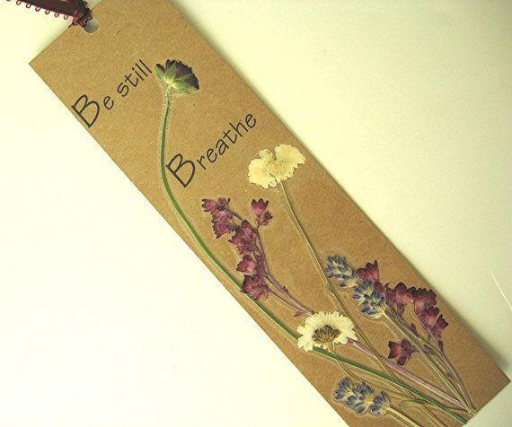Nature Kraft Bookmark Be Still Breathe Handmade by mingogardens