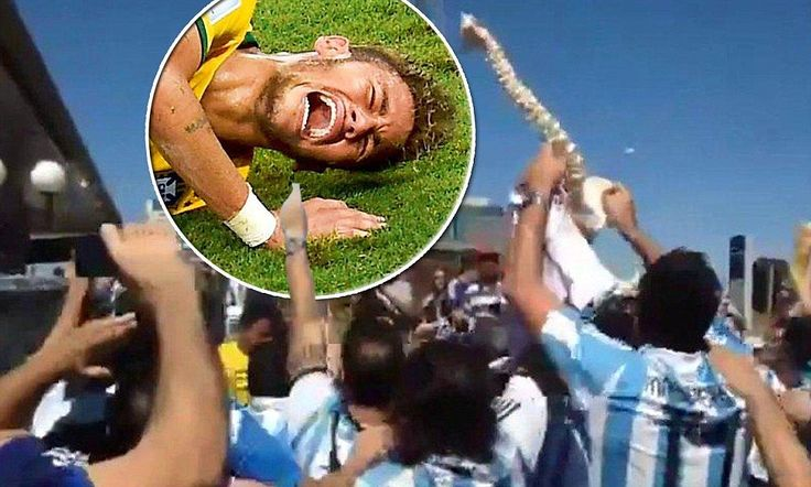 Argentina fans celebrate Neymar's injury with spinal chord skeleton!! HOW DARE THEY!!