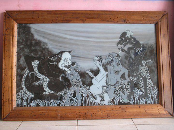 Glass Painting List No.1001. Sunyaragi purple version, Rp. 7,500,000 (60X 100 cm) No.1002. Punakawan, Rp. 5,000,000 (80 x 80 cm) No.1003. Autumn War Abimayu, Rp. 8,000,000 (80 x 80 cm) No.1004. Blu...
