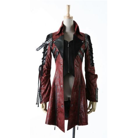 Poisonblack dames jacket rood - Gothic, Steampunk