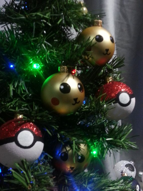 Pokémon Pokeball and Pikachu Inspired Ornaments