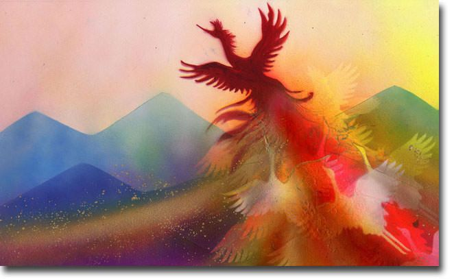 新月紫紺大作の鳳凰の絵 タイトル「ダンディライオン ~鳳凰への変身~」