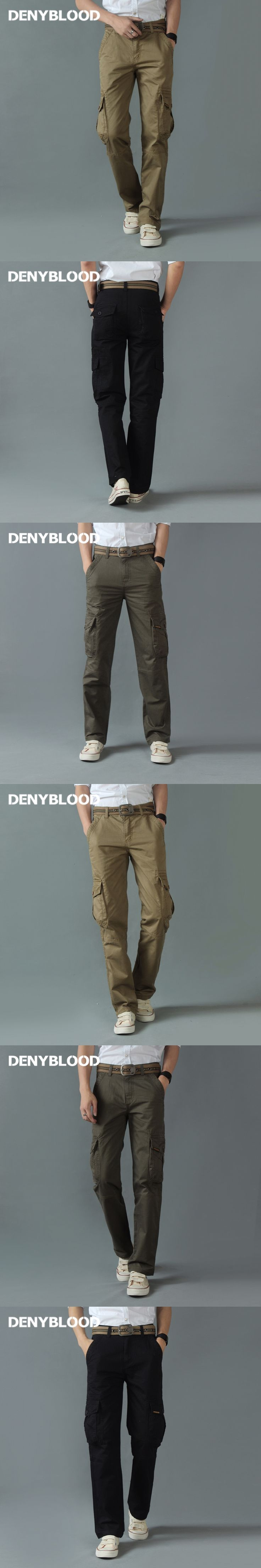Denyblood Jeans Men Cargo Pants Chinos Army Green Military Casual Pants Cotton Twill Mutil Pocket Trousers Straight for Men 8329
