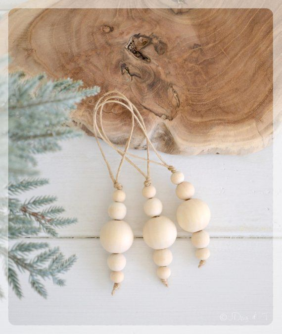 CLEARANCE 3 X Wood Bead Christmas Bauble Decoration Home