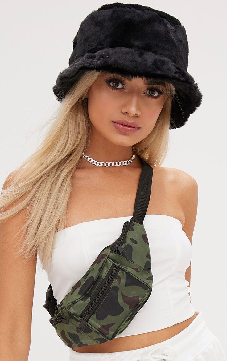 Black Fluffy Bucket Hat. Accessories | PrettyLittleThing