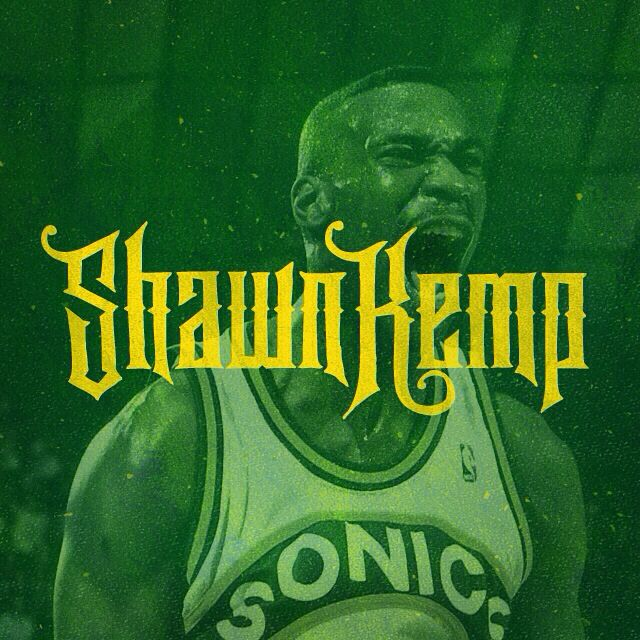 Hand lettered Shawn Kemp design. #ShawnKemp #handlettering #handdrawn #handdrawntype #type #NBA #Seattle #Sonics #SuperSonics #90s