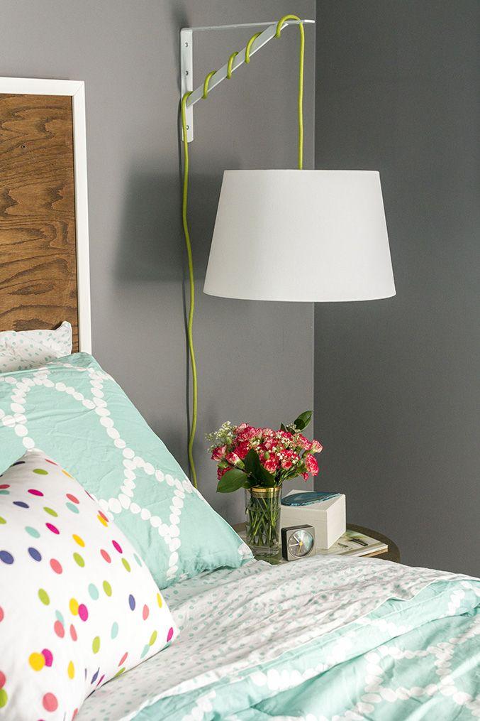 diy ikea bedside lamp dream green diy diy home pinterest arbres de no l tissus et lampe. Black Bedroom Furniture Sets. Home Design Ideas